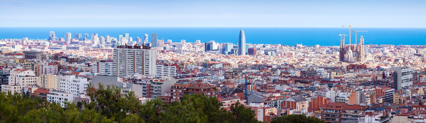 panoramic view of old  district in Barcelona, Spain