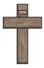 wooden cross with inri inscription