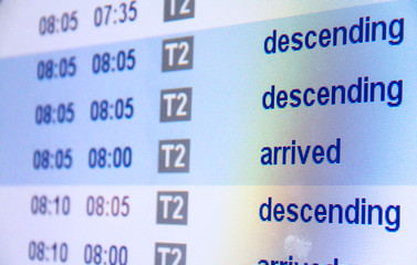 Flight arrival board in airport