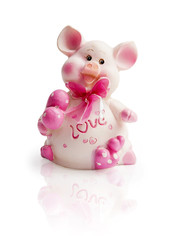 Statuette of a pink pig