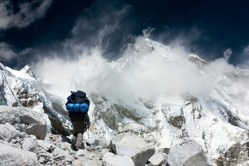 view of Cho Oyu with trekker