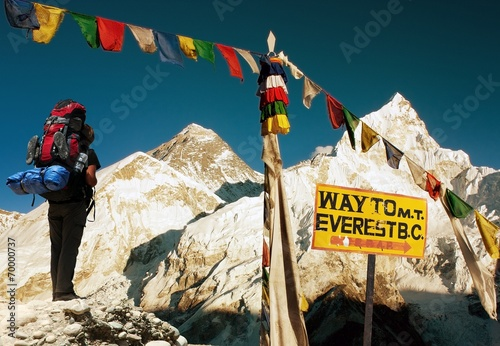 Foto Spatwand Nepal view of Everest - way to Everest Base Camp - Nepal
