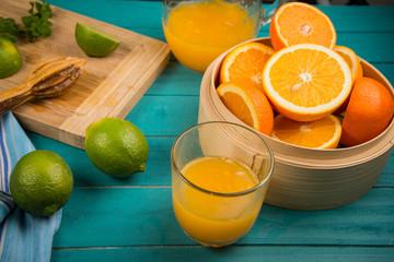 homemade orange and lemon juice
