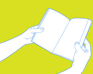 Hands holding open book