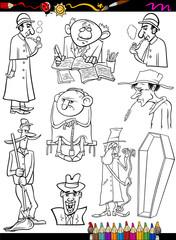 retro people set cartoon coloring page