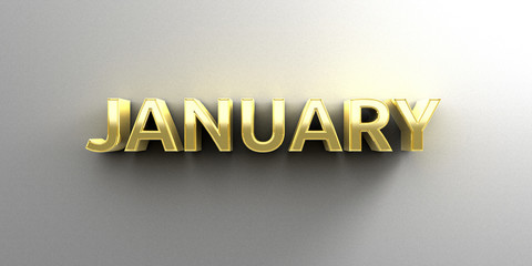 January month gold 3D quality render on the wall background with