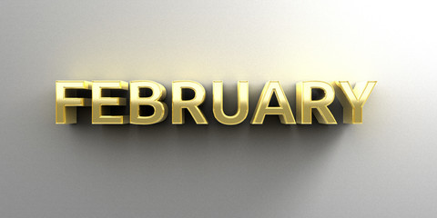 February month gold 3D quality render on the wall background wit