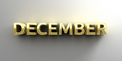 December month gold 3D quality render on the wall background wit
