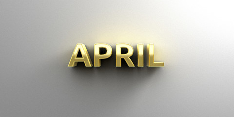 April month gold 3D quality render on the wall background with s