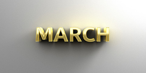 March month gold 3D quality render on the wall background with s