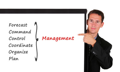 Business man at white board showing management issue