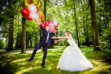 beautiful couple with balloons