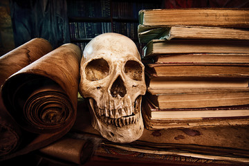 books and skull