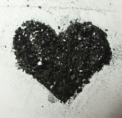 Shimmering heart made from graphite dust