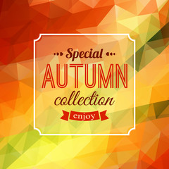 Autumn sale typographical background. Geometric design. Vector