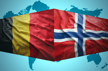 Waving Belgian and Norwegian flags
