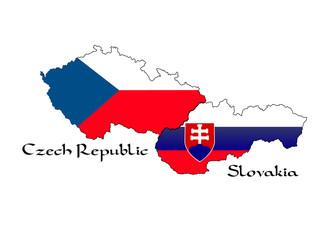 Landkarte der Tschechischen Republik und der Slowakei
