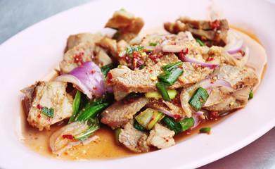 Sliced grilled beef salad