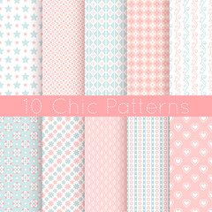 Chic different vector seamless patterns. Pink, white and blue