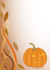 Sfondo zucca halloween e foglie