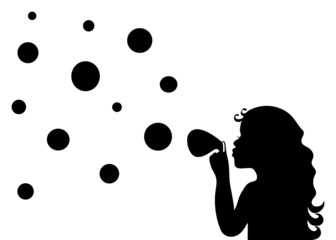 Silhouette of a little girl blowing. Vector EPS8.