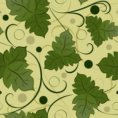 Seamless green leaves vector pattern.
