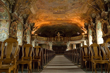 Choir loft of Aula Leopoldina at Wroclaw University. Poland.