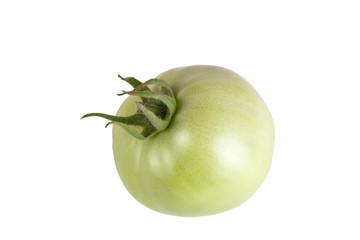 green unripe tomato isolated on white background