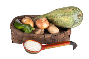 vegetables in the old basket and rice in an old ladle isolated o