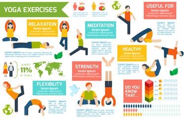 Yoga infographics set