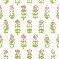 Seamless pattern of abstract flowers on pale scrolls