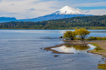 View of Volcan Villarrica from Villarrica itself, Chile