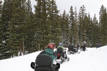 Top of the mountain - Snowmobile ride in Colorado