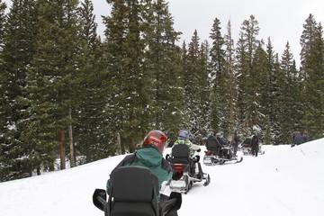 Top of the mountain - Snowmobile ride in Colorado