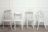 Set of white wooden vintage chairs