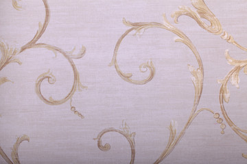 vintage beige wallpaper with victorian vignette pattern