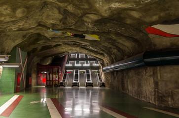 Exit from Kungstradgarden metro station of Stockholm, Sweden