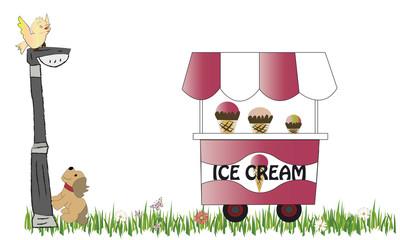 Carro de helados y farola con perro y pájaro