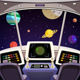 Fototapety Spaceship cartoon interior