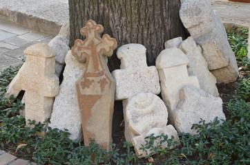 Stone crosses, interior court of Stavropoleos monastery