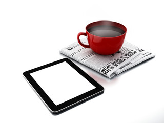 Morning news. Coffee cup with newspaper and tablet pc