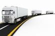 White Trucks on freeway. 3d render illustration
