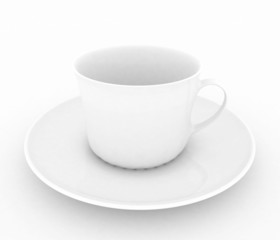 Empty white tea or coffee cup . 3d illustration on white