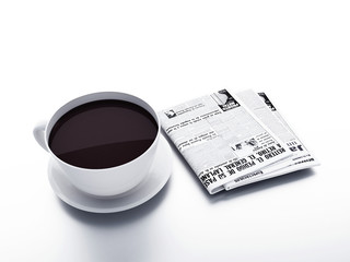 Coffee cup with newspaper on white isolated background