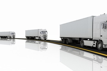 White Trucks on freeway. 3d render illustration