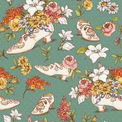 Seamless Vintage Flowers and Shoes Background