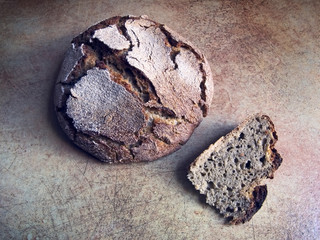 Italian cuisine - homemade black bread with buckwheat flour
