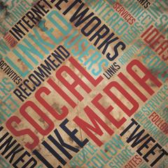 Social Media - Grunge Word Cloud Concept.