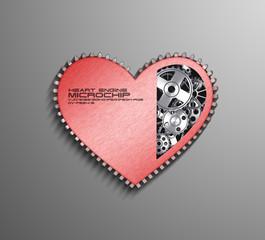 CPU. Gears inside heart processor. 3d