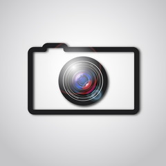 Photo camera lens and outline icon, vector